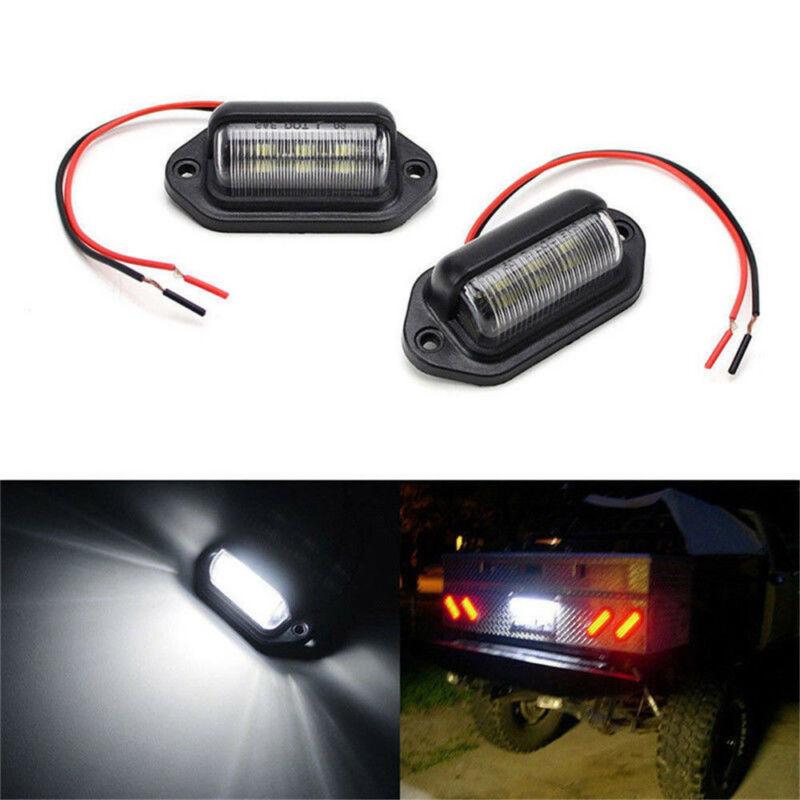 1 Pair Car Boat Truck Trailer LED License Plate Light Step Lamp Waterproof IP65 6-LED 12V License Plate Lamp White