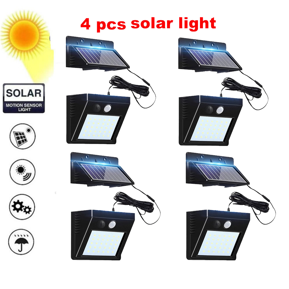 2/4pcs 100/56/30 LED Solar Power Lamp PIR Motion Sensor Solar Garden Lights Outdoor Waterproof Energy Saving Wall Yard Lamps Spl