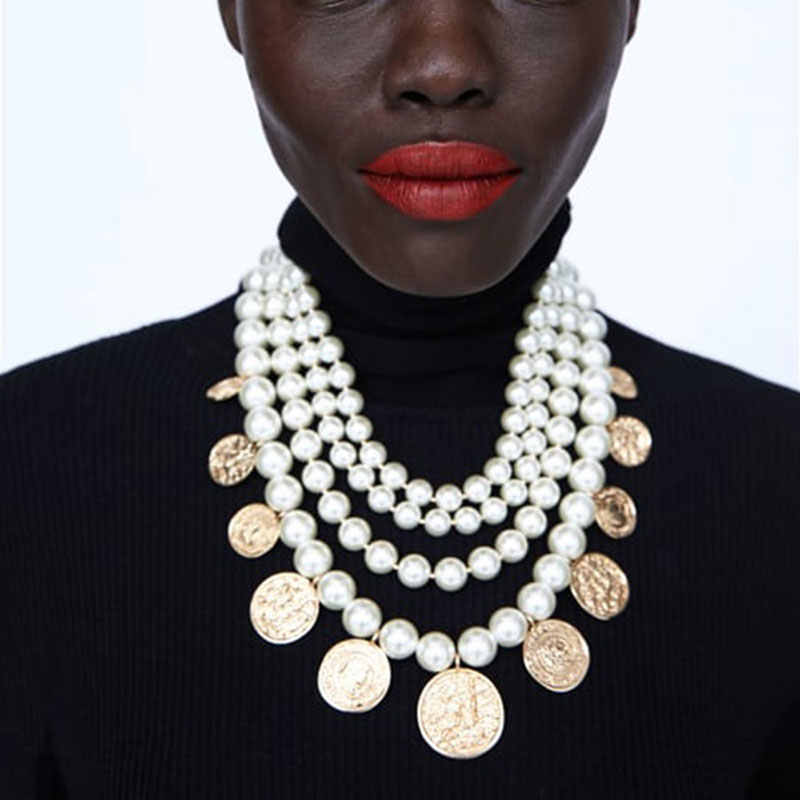 Dvacaman 2018 New Fashion Simulated Pearls ZA Statement Necklaces Pendants for Women Wedding Gift Boho Collar Chokers Necklace