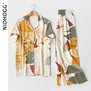 Image 5 - Nouveau Satin impression florale pyjama ensemble mode à manches longues Pijamas femmes col en v ensemble dintérieur 2 pièce maison vêtements de nuit 2020