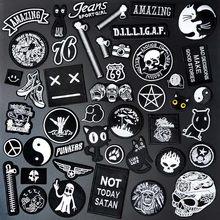Patch brodé pour vêtements, noir et blanc, accessoires de couture, Badges décoratifs