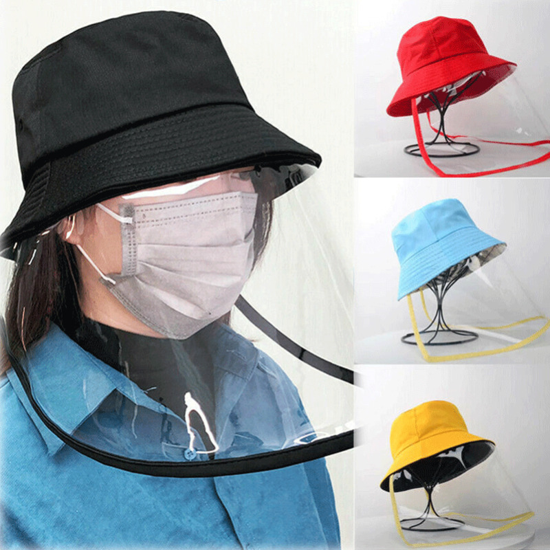 Women Bucket Hats Protective Anti-saliva Dust-proof Hat Safety Transparent Protective Mask Plastic Anti-fog Hats Face Shields