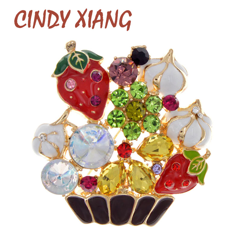 CINDY XIANG Enamel Rhinestone Colorful Flower Basket Brooches For Women Large Fashion Brooch Pin Wedding Jewelry Gift