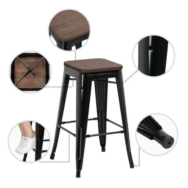 2Pcs/set Iron Art Bar Chairs Bar High Stools Height Chairs Synthetic Footrest No Armrests Home Office Kitchen Furniture HWC
