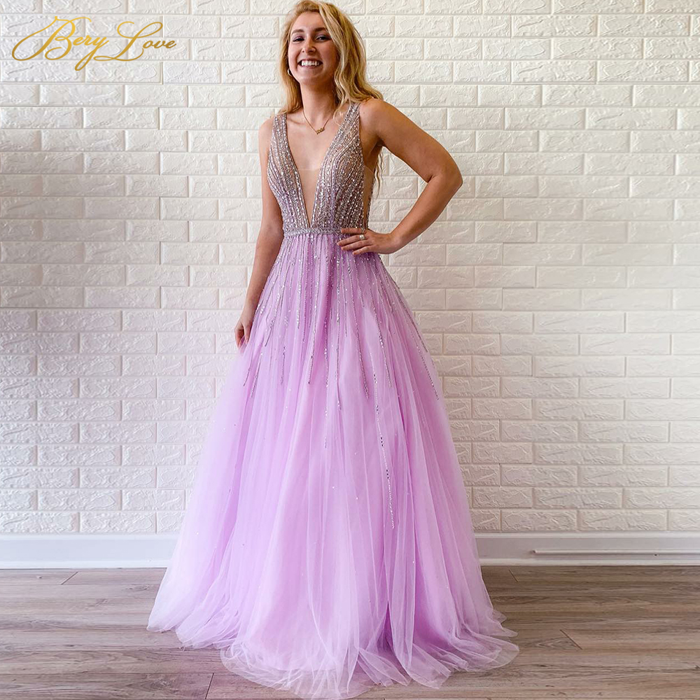 Beading Pink Prom Dress 2020 Open Back Young Girl A Line Teenager Long Party Dress Crystal Bead Formal Elegant Dress Vestido