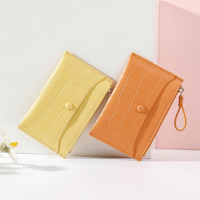Brand Stone Pattern Mini Women Card Holder Cute Credit ID Card Holders Zipper Slim Wallet Case PU Leather Change Coin Purse Girl