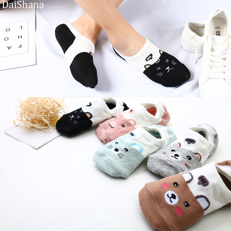 27 Style 10 Piece=5Pairs/lot Wholesale Cute Harajuku Animal Sock Women Summer Korean Cat Beer Funny Low Cut Boat Sock Happy Sox