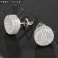 Hip HOP 1 par Micro completa pavé de diamantes de imitación de circón redonda CZ Bling piedra helado Stud pendiente de cobre pendientes de la joyería de los hombres
