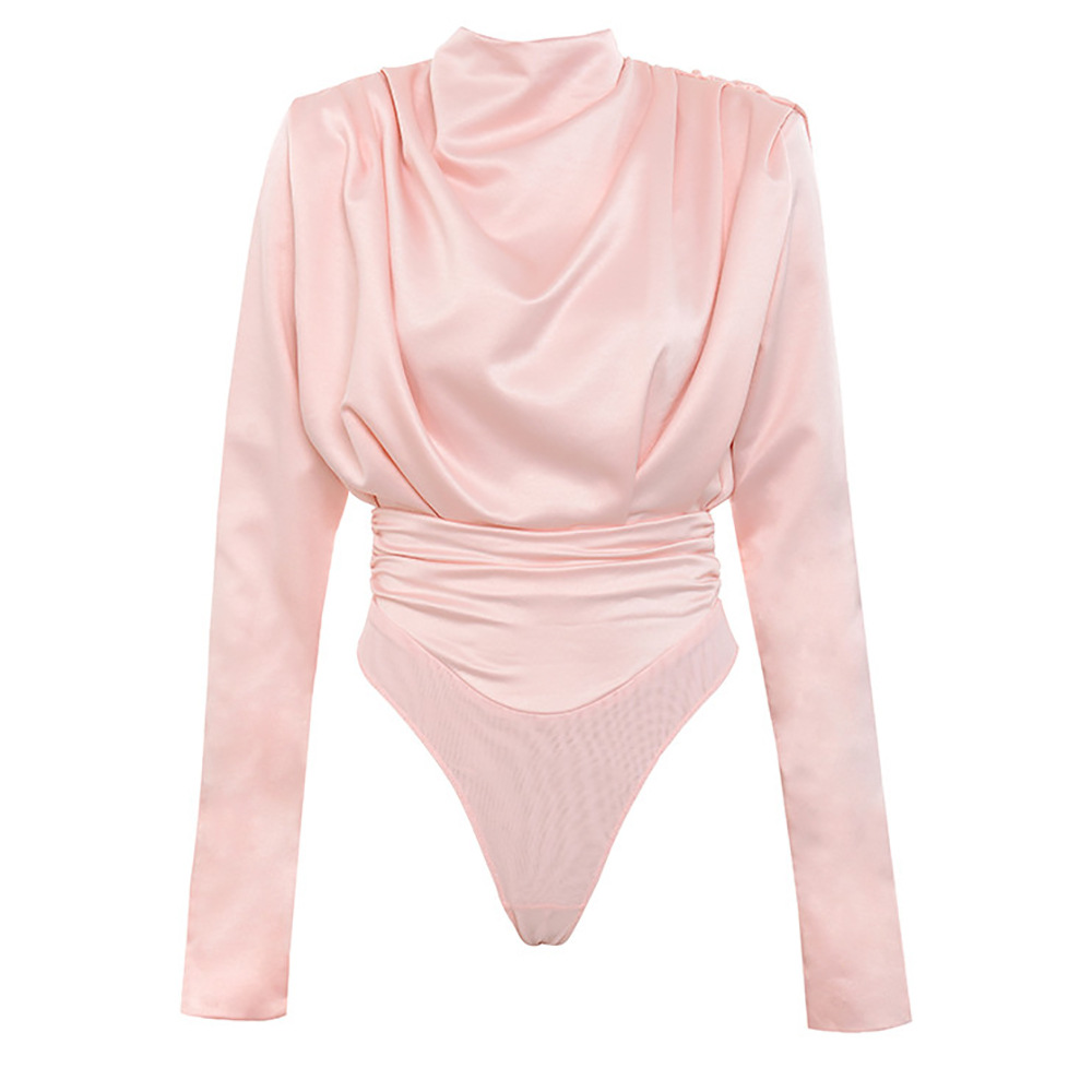 H23f84a1e4a63468691f7f91f41035de0Q - Artsu Elegant Satin Pink Blouse Long Sleeve Bodysuits Tops Women Spring New Romper Mujer Ladies Cute Shirts ASJU60703