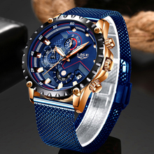 2019 New LIGE Blue Casual Mesh Belt Fashion Quartz Gold Watch Mens Watches Top B