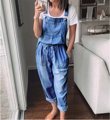 New Fashion Denim Jumpsuits Women Casual Jumpsuit Drawstring Overalls Female Summer Loose Rompers Комбинезон Женский 2020 #T1G