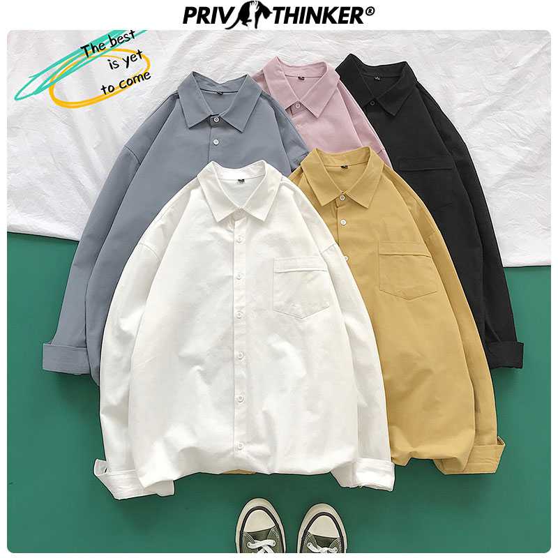 Privathinker 2019 Autumn Cotton Loose Oversize Women Shirts Long Sleeve Solid Female Shirt Lady Office Colorful Blouses Shirts