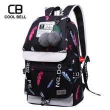 Backpacks For Teenage Girls School Bags Canvas Bag Cute Plush Ball Bookbag Women Chinese Feather Printing Backpack Schoolbag цена в Москве и Питере