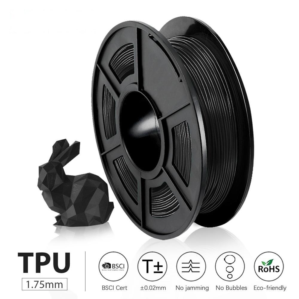 ТПУ Гибкая нить 0,5 кг 1,75 мм допуск диаметра +/-0,02 мм 100% без пузырьков цветной экологически чистый FDM 3D-принтер материал