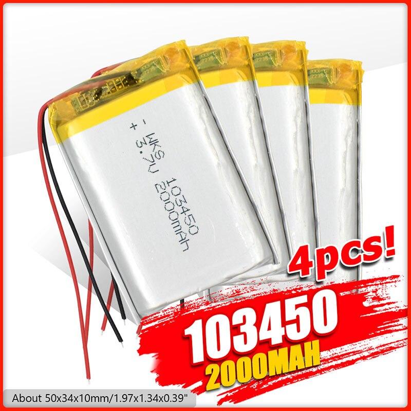 Bateria recarregável do lítio do polímero de 103450 2000mah 3.7v lipo para gps navigator gps mp5 bluetooth alto-falante fone de ouvido câmera e-book