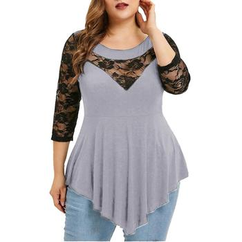 2019 Summer Chiffon Tops Women Blouses Vintage Lace Crochet Casual irregular Large Elegant Loose 5XL Big Plus Sizes Shirts 2