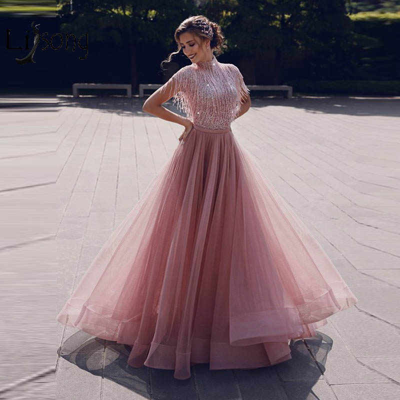 Abendkleider 2019 Dusty Pink Sequined Evening Dresses Tassel Tutu A-line Prom Gowns Muslim High Collar Formal Dresses