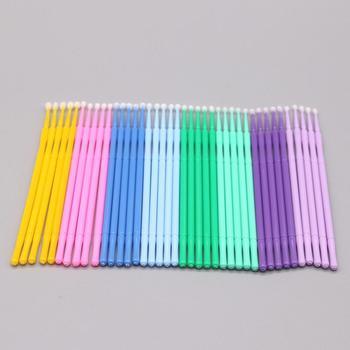 100pcs Disposable Colorful Cotton Swabs Eyelash Brushes Cleaning Swab Hot Natural Eyelashes Remover Tattoo Microbrush Kit