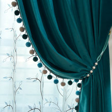 Blue Wool Velvet High-end Curtain Light Luxury American Modern for Living Room Bedroom Balcony Nordic Velvet Curtains Custom