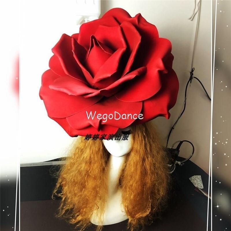 New DJ Bar Nightclub Singer Ds GOGO Sexy Red Roses Headdress