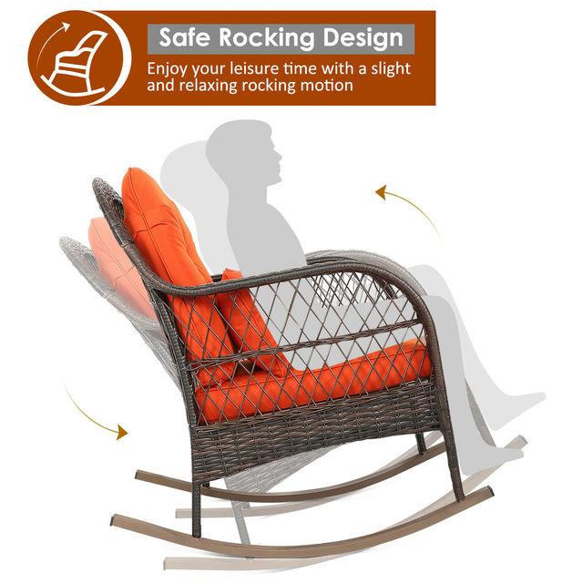 2PCS Outdoor  Wicker Rocking Chair 4
