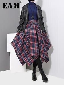 Hem Skirt Women Red Plaid High-Waist Fashion EAM Spring Big Tide Split Loose Joitn JD402