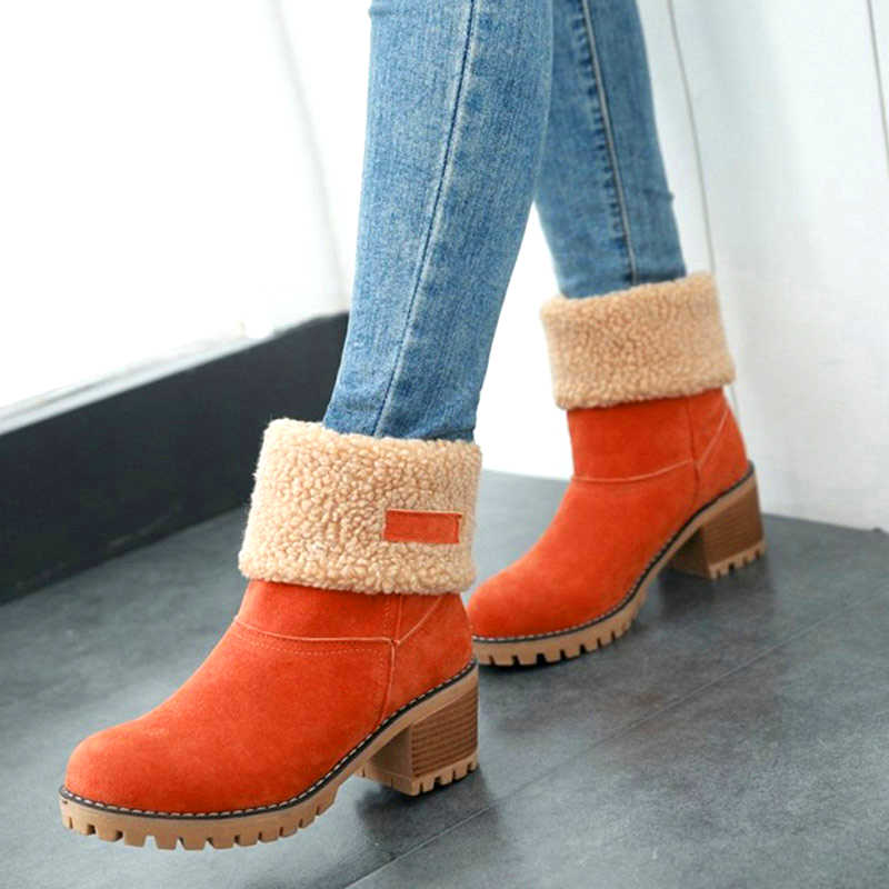 Kadın yarım çizmeler kış kürk sıcak kar botları bayanlar tıknaz yüksek topuklu moda artı boyutu peluş üzerinde kayma rahat ayakkabılar damla