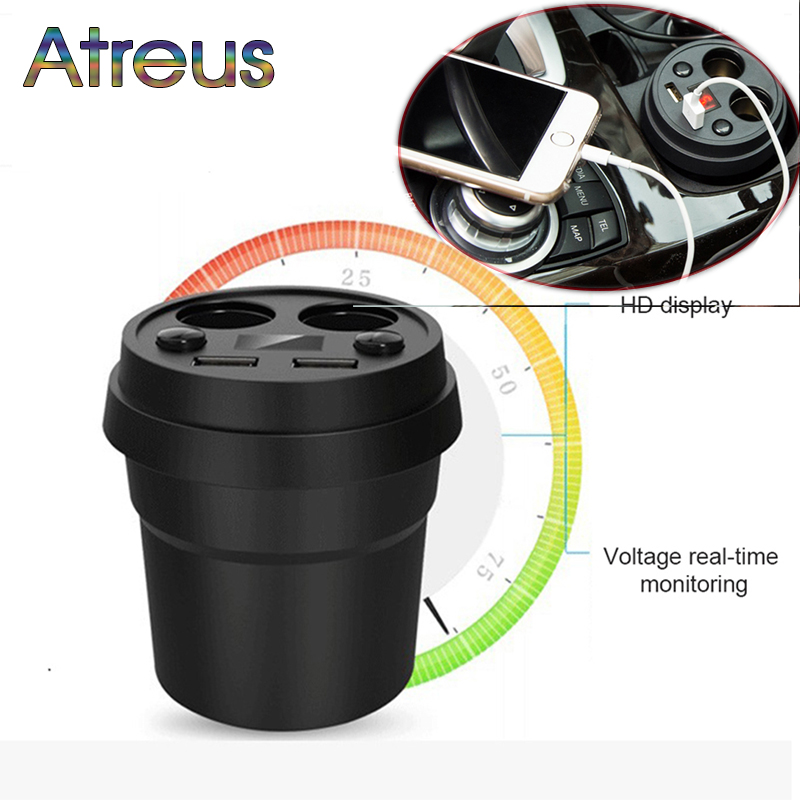 Dual <font><b>USB</b></font> <font><b>Charger</b></font> Car Adapter With 2 Cigarette Lighter For Hyundai Creta Tucson <font><b>BMW</b></font> X5 E53 VW Golf 4 7 5 Tiguan Kia Rio Sportage image