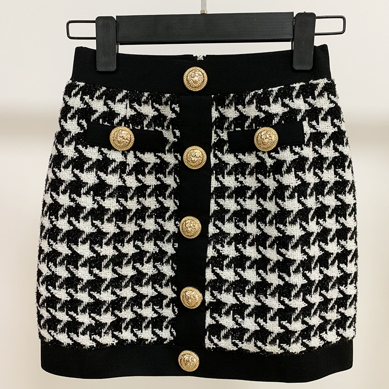 Image 3 - HIGH QUALITY Newest 2020 Designer Skirt Womens Lion Buttons Shimmer Tweed Houndstooth Mini SkirtSkirts