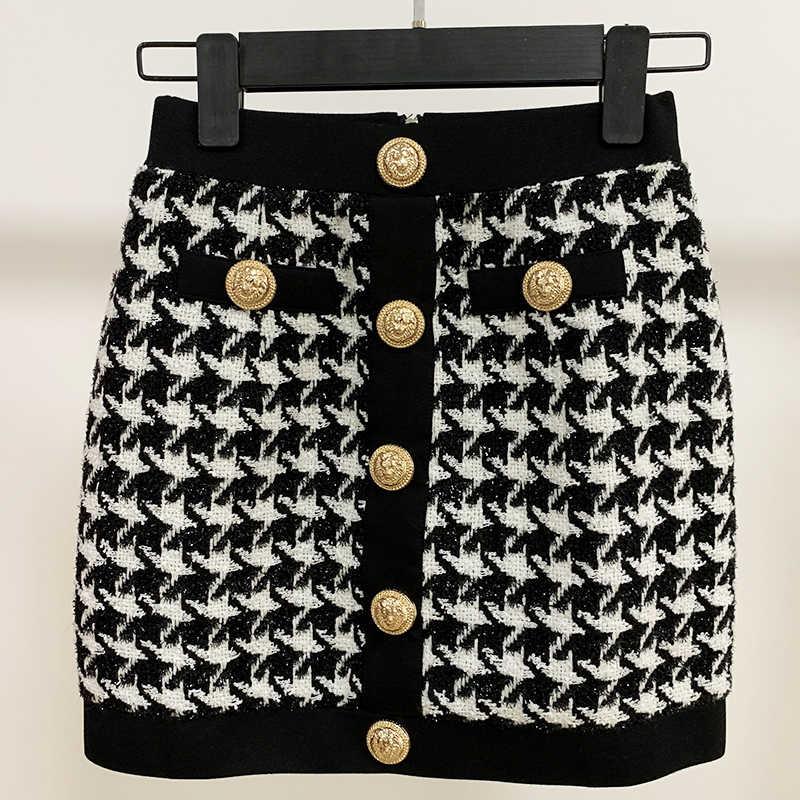 Wysoka dobrej jakości, najnowsze 2019 projektant spódnica damskie guziki z lwem Shimmer Tweed Houndstooth Mini spódniczka