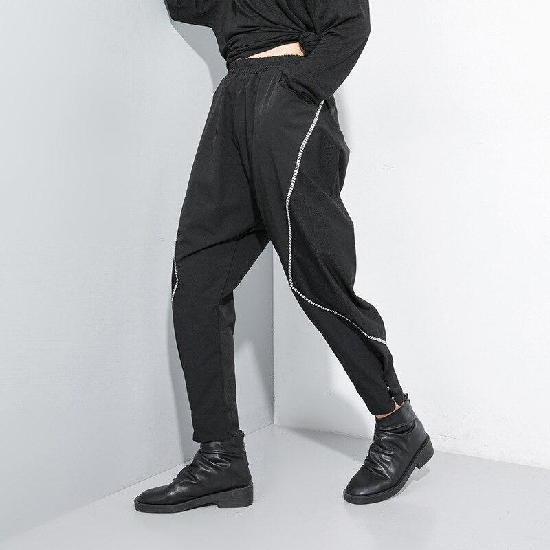 LANMREM Hip Hop Pants For Women High Waist Woven Letter Pattern Temperament Harem Pants 2020 Spring Fashion New Trousers TC324