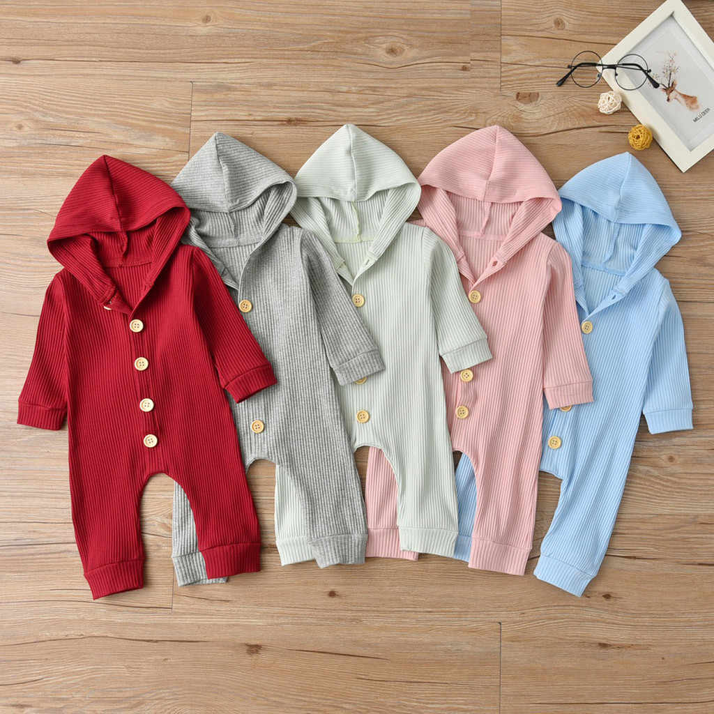 MUQGEW Solid Newborn Romper Hot Sale Infant Baby Unisex Jumpsuit Girls Boys Autumn Long Sleeve Solid Hooded Romper recem nascido