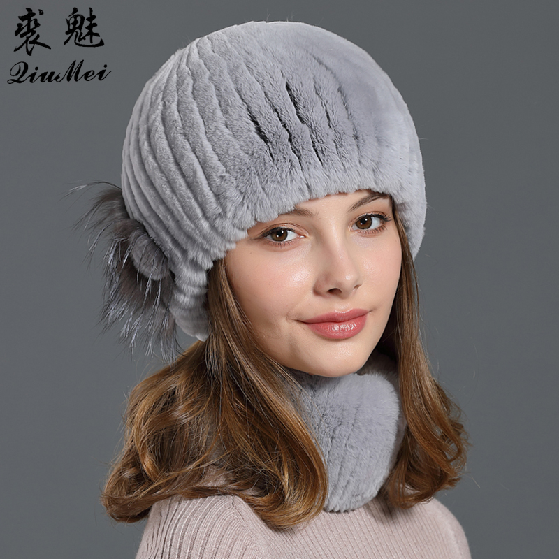 Woman Knitted Scarf And Hat Set Real Fur Rex Rabbit Thick Lined Luxury Fox Fur Genuine 2019 Winter Hats And Snood Sets Neck Ring