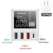 QC3.0 Fast Charging Type C USB Charger 4 Port Portable Smartphone Adapter 40W LED Display for iPhone Samsung Travel Wall Charger цена 2017
