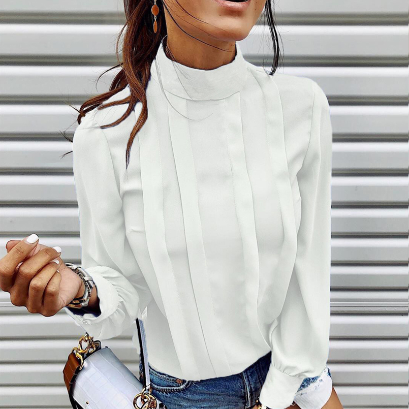 Chic High Street Women   Blouse     Shirts   New Fashion Office Lady OL Work Vogue   Shirt   Tops Daily Pleated Elagant   Blouse   2019 HOT