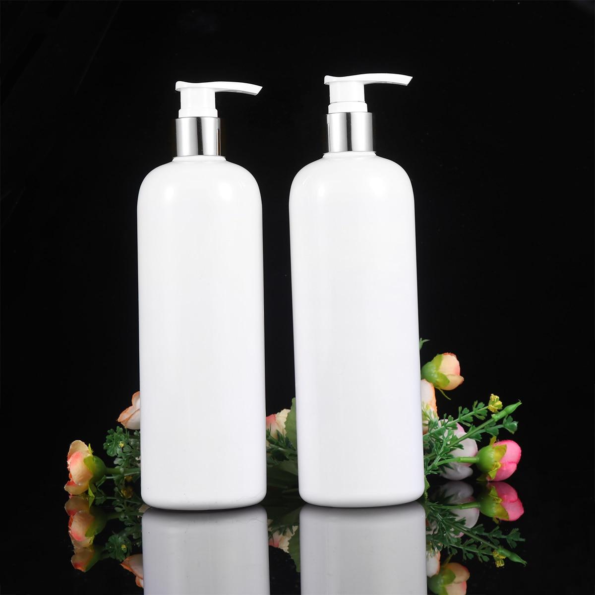 3PCS 500ml Refillable Plastic Bottle Empty Pump Bottle Travel Dispenser For Shampoo Shower Gel Liquid Soap (White, Silver White)