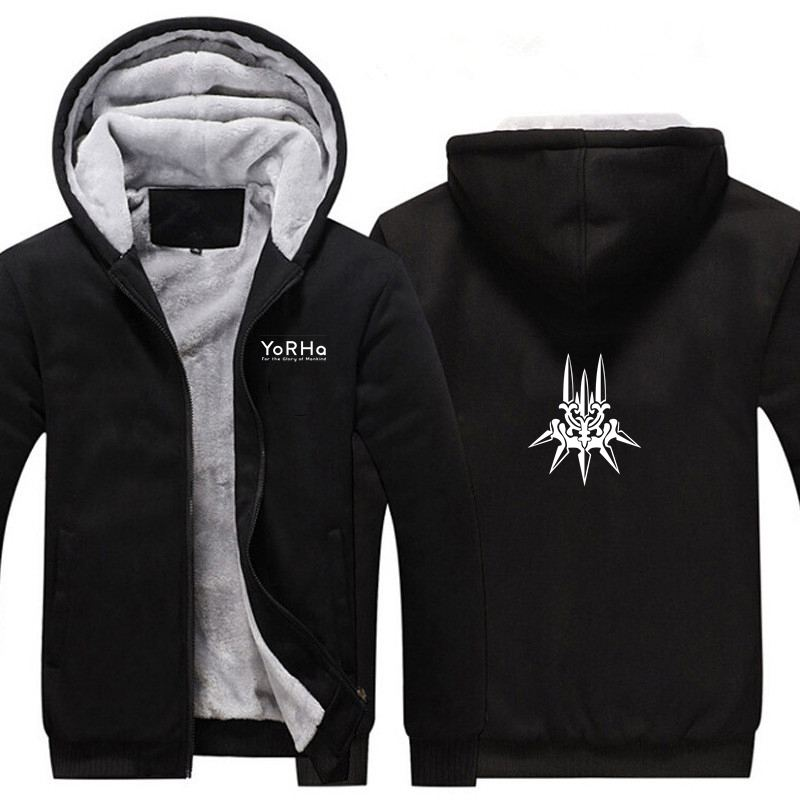 New Game NieR Automata Thicken Hoodie Sweatshirts Cosplay Costume Anime Winter Warm Coat Hooded Men Adult Clothing
