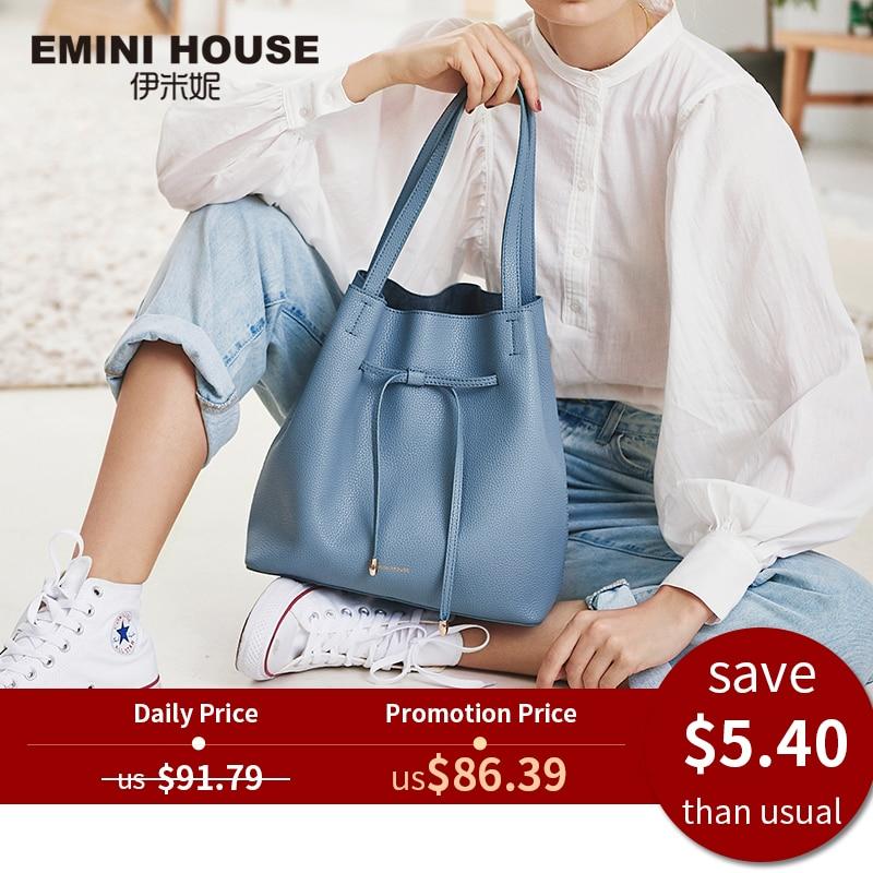 Women Bags Tote-Bag Crossbody-Bags Emini House Leather Drawstring Designer Soft for Split