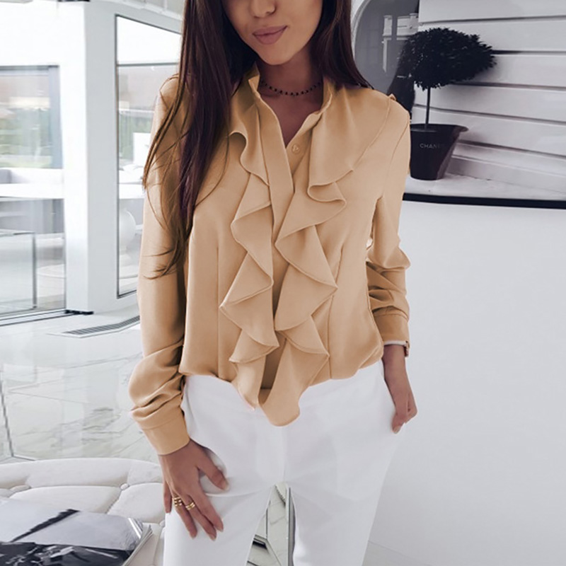 Long Sleeve Ruffled Shirt Women 2020 Fashion Spring Autumn Elegant Blouse Streewear High Quality Pure Color White Black Tops 10