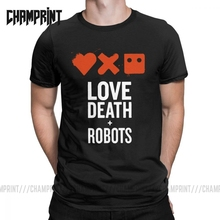 Vintage amor muerte Robot camiseta hombres cuello redondo puro algodón camiseta animación Terror Punk Vaporwave manga corta Camiseta impresa