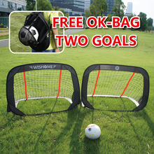 WISHOME 2 Children Soccer Goal Set Foldable Football for Backyard Kids Outdoor Toys Portable Square Net with OK-Bag