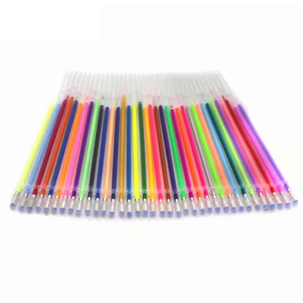 48 Color/SET Non-Toxic Gel Pen Refill Multi Colored Painting Gel Ink Ballpoint Pens Refills Rod For Handle School Stationery