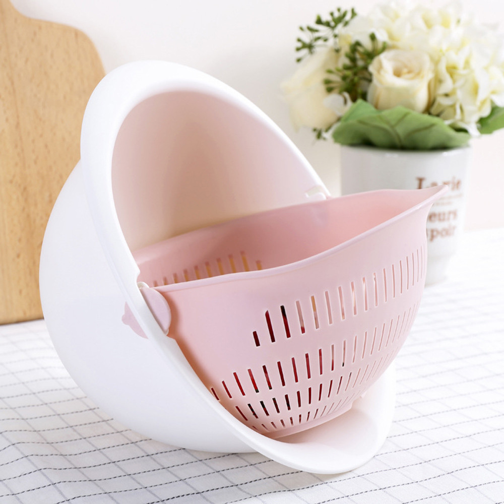 Kitchen Strainer Baskets Colander Noodles Vegetables Fruit Rice Washing Double-Drain