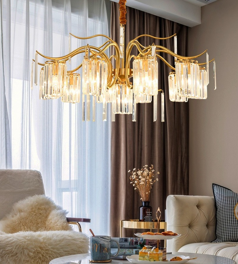 Post-modern Luxury Crystal Pendant Lights American Copper Hanging Lamps Living Room Dining Room Bedroom Home Deco Light Fixtures