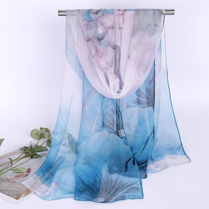 Elegant Debutante Lotus Printed Silk Scarves Women's Chiffon Scarf Fashion Elegant Scarf Gauze Kerchief