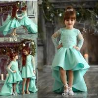 Cheap Lovely Mint Green Girls Pageant Dresses Jewel Neck Lace Applique Hi Lo Long Illusion Sleeves Pageant Dresses for Kids Girl