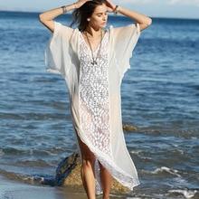 Summer Long Dress Lace Chiffon Panel Bikini Blouse  Boho Beach Dress Sexy Long Sun Protection For Seaside vacation Dress lace panel blouse