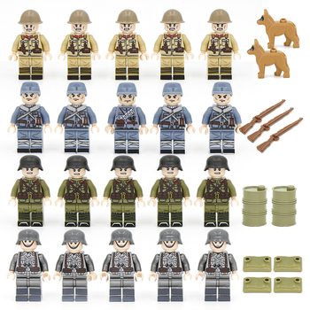 20/50PCs/lot WW2 German Military Army Soldiers KMT eighth route army Japanese Building Blocks Bricks with Gift Toys for Children 995pcs german king tiger tank model building blocks sets military ww2 army soldiers kit diy bricks educational toys for children