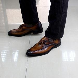 Image 4 - Tamanho 6 13 dos homens borla mocassins feitos à mão couro genuíno marrom formal sapatos festa de casamento dos homens vestido sapatos azul calçados casuais