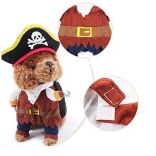 Pet Cat Dog Costume Pirate Police Cowboy Sailor Suit Clothes Corsair Halloween Jacket Dress Up Party Pet Cosplay Costume D35